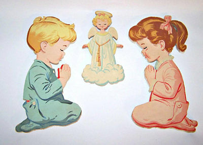 Vtg 1950's Dolly Toy Co Praying Boy Girl W Angel Wall Hangings Art Plaques Decor