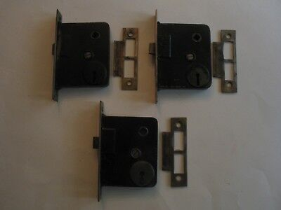 3 Vintage Mortise Door Latch / Locks With 3 Strike Plates Architectural Hardware