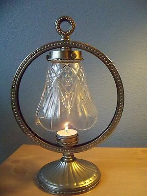Pewter Brushed Circle Votive Small Table Candle Holder with Crystal Glass Shade