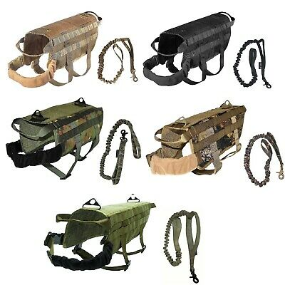 Dog Tactical Vest Leash Molle Canine Harness K9 Hunting Training Military XS -XL