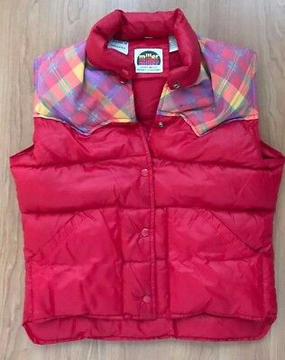 Miller Outer Wear M 80S ? Vest Retro Down Puffer Western Rockabilly Hipster Red