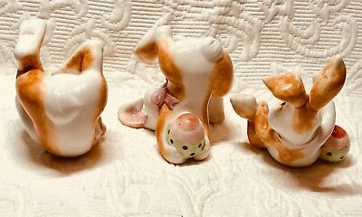 Fitz And Floyd Essential Eggscapades 3 Ceramic Easter Bunnies Tumbling Rabbits