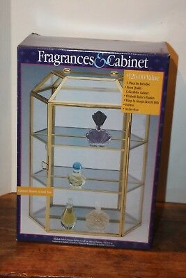 NEW VTG Tier Brass Glass Miniature Curio Display Cabinet Case w/ perfumes NIP