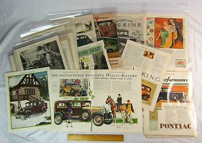 26 Automobile Advertising Clippings Lot 14 inch x 11 inch 1920s 1930s 1967