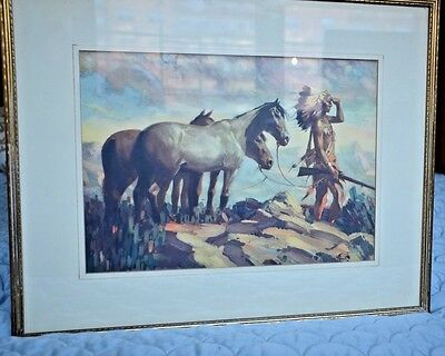 Native American Indian with Horse  Mountain Western Landscape Painting Print