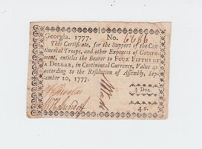 Colonial Currency, Georgia. Sept. 10, 1777 $4/5 dollar note *NO RESERVE!!* ChVF