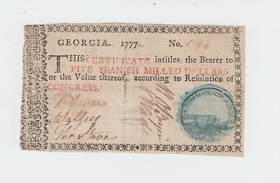 Colonial Currency, Georgia 1777 $5 Dollar Note - About VF - Border Type D Cannon