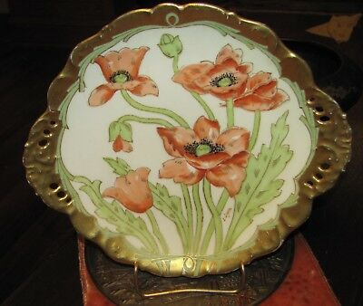"""Antique Hand Painted 10"""" L. Luca Elite Limoges Poppies Charger Plate G & B"""