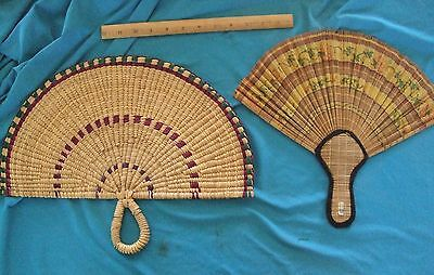 Lot of 2 Woven Rattan Cane Bamboo like Braided Large Hand Fans Basketweave