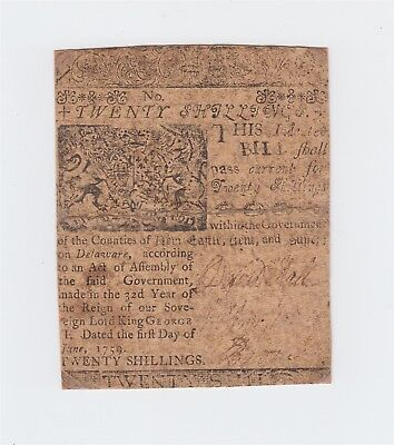 BENJAMIN FRANKLIN Printed, Delaware, June 1, 1759 20 Shillings Colonial Currency