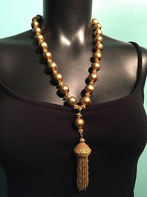 TRIFARI Vintage Gold Bead Huge Tassel Necklace Chunky Mid Century Jewelry