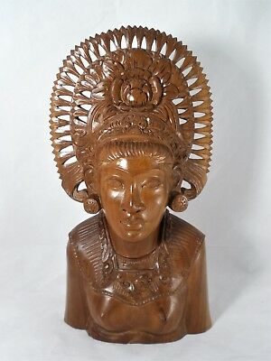 A.A. Fatimah Wood Carved Balinese Bust Woman In Headdress Bali Indonesia