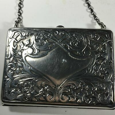 Antique Sterling Silver Evening Card Holder with Chain Made by Schmitz Moore Co