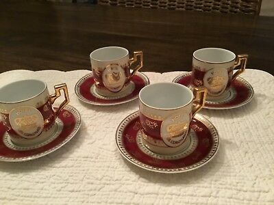 Vintage Hotel Del Coronado  Demitasse Cups-and Saucers - set of 4 Rare Gold Gilt