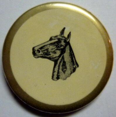 Vintage / Antique celluloid ? Horse pin from estate 1 3/4 in. diam. !!!!!!!!!!!!