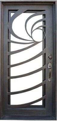"""Wrought Iron Entry Door 37.5""""W x 81""""H Choice of Glass and Door Swing"""