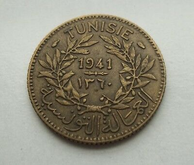 Tunisia 1941 1 Francs #km-247 World Coin  Free S/h