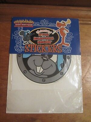 Vintage 1992 Rocky & Bullwinkle Rocket J Squirrel Car Decal Sticker Round NEW