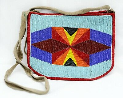 NATIVE AMERICAN Double Sided Beaded Bag GREAT CONDITION
