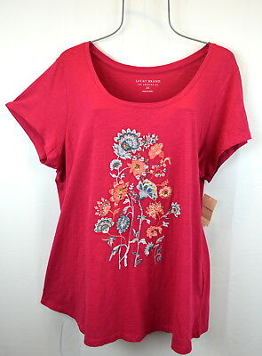 Lucky Brand Womens 1X Persian Multicolor Floral Embroidered Top Blouse Tee NEW