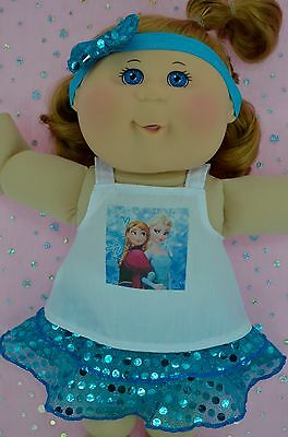 "PlaynWear Doll Clothes For 14"" Cabbage Patch TURQUOISE SEQUIN SKIRT~TOP~HEADBAND"