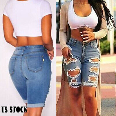 Women Shorts Denim Summer Skinny Ripped Hot Sexy Beach Trousers Jeans Short US