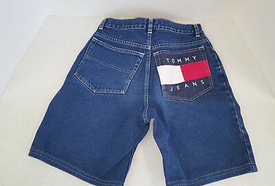 Vintage Tommy Hilfiger Full Flag Back Pocket Jean Shorts -Teen Size 16 **RARE**