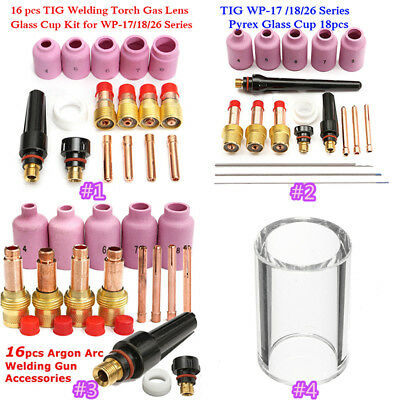 16/18x TIG Welding Torch Argon Arc Gas Lens Parts Kit For Tig WP-17/WP-18/WP-26