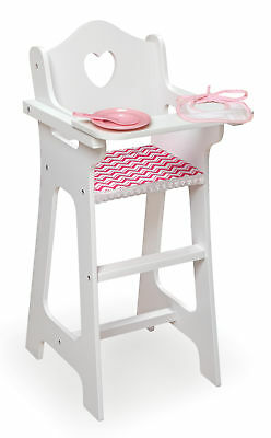 Badger Basket Gingham Doll High Chair With Plate, Bib, And Spoon - White/Pink -