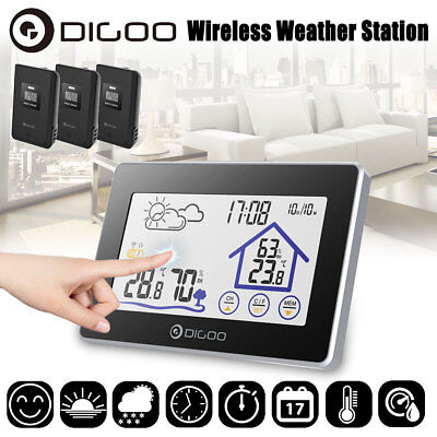 Digoo Wireless Touch Weather Station In&Outdor Thermometer Forecast Sensor Clock