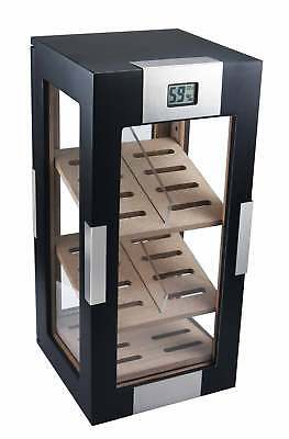 Visol Black Matte Wood Vertical 150 Cigar Display Humidor Free Bonus Cutter
