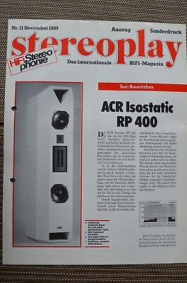 Stereoplay Sonderdruck 11/89,seiten 2,acr Isostatic Rp 400