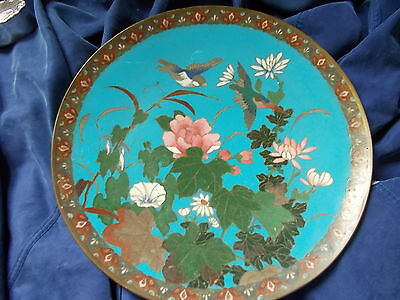 Japanese Cloisonne Charger 12 Inch Birds And Foilage