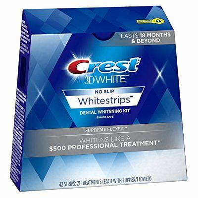 Crest3D Supreme FlexFit Whitening Strips -New Box- Whitestrips Professional