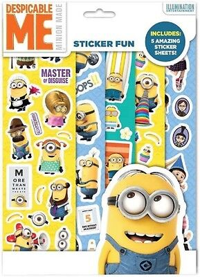 5 x  Sheets  Despicable Me Stickers Ideal For Card Making And Other Crat Work
