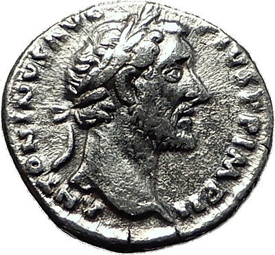 ANTONINUS PIUS 155AD Authentic Ancient Silver Roman Coin SALUS HEALTH i59012