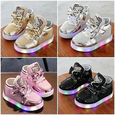 Light Up LED Shoes For Baby Toddler And Youth Kids Girls Athletics Sneakers NEW
