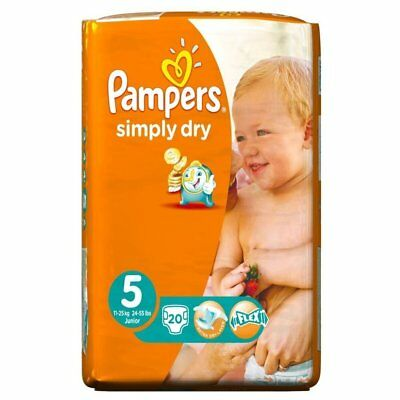 Pampers Simply Dry Disposable Nappies, Size 5 (11-25kg), 80 Nappies - Extra Dry