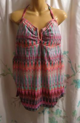 NEW Liz Lange Maternity Pink/Green Bandeau or Halter Tankini Top - Size Small