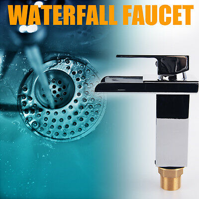 Modern Waterfall Bathroom Sink Faucet w/ Chrome Finish Single Hole One Handle