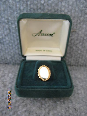 New NOS Vintage Collectible Anson Tie Tack Pin in Box Gold Tone Oval Shaped