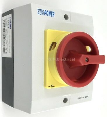 25 Amp Rotary Electrical Isolator Switch 4 Pole 3 Phase 25A/4P Outdoor Ip65 Tp&n