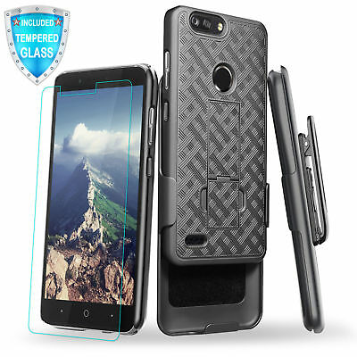 For ZTE Blade Z MAX Z982 Slim Kickstand Case Holster Belt Clip + Tempered Glass