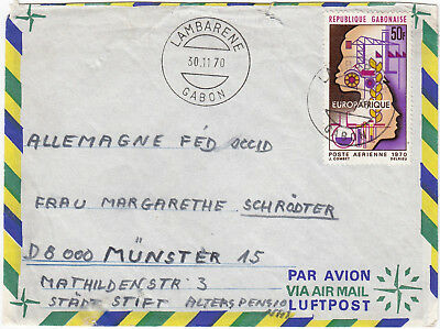 U1101 Gabon air cover to Germany, 1970; solo 50F stamp; with contents