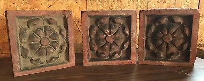 3 Vintage Terracotta Art Deco Architectural Salvage Garden Stone Block Wall