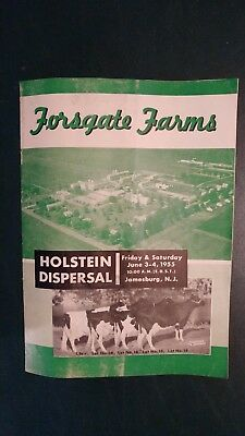 1955 Forsgate Farms Holstein Herd Dispersal Sale Ad Book - Jamesburg New Jersey
