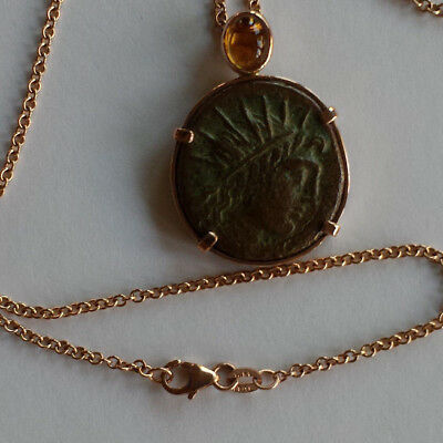 Authentic Ancient Greek Bronze Coin 14K Rose Gold Pendant/Chain Citrine Cabochon