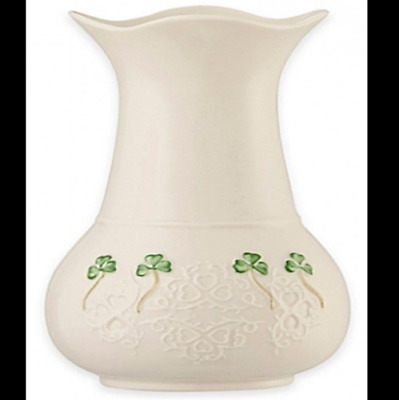 Belleek Shamrock Lace Vase Handcrafted in Ireland Porcelain Adds Elegant Irish