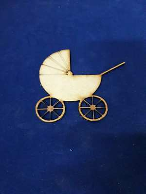 Wooden mdf Pram Shapes Mini Baby Stroller Buggy no handle New Baby Craft Prams