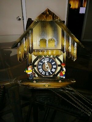 German Chalet Cuckoo Clock Black Forest Love Story, Free Shipping